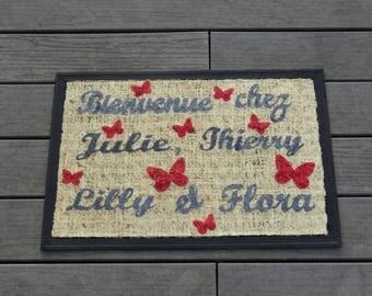 """Welcome!"", personalized, original doormat custom doormat, doormat with names, mat gray and Red Butterfly"
