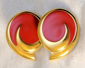 Red and Gold Earrings - Vintage Signed Monet Swirl Post Earrings