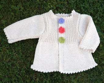 1 year: nice vest Brown cotton with flowers and dots crochet