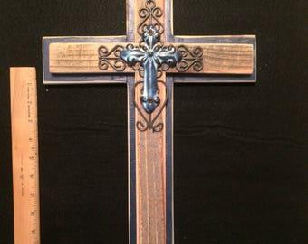Rustic Blue Cross, Rustic Cross, Rustic Cross Wall Decor, Cross Wall Decor, Reclaimed Lumber, Decorative Cross, Wall Decor, Wooden Cross