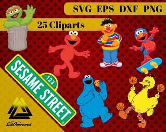 Sesame Street Clipart – 25 (Svg, Eps, Png, Dxf Files) 300 PPI, Vectorial Images, Sesame Street svg, T-Shirt Design, Sesame Street Printable