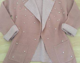 handmade pink vest with pearls