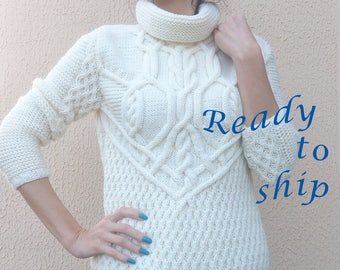 Aran Knit Sweater, Aran Sweater, Knit Sweater, Knit Sweater For Women, White Sweater, Hand Knitted Sweater, Wool Sweater, Turtleneck Sweater