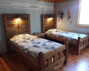 Twin bed with night light
