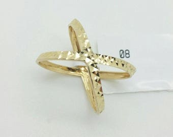 14k Yellow Gold Diamond Cut X Crisscross Design Band Ring Size 8