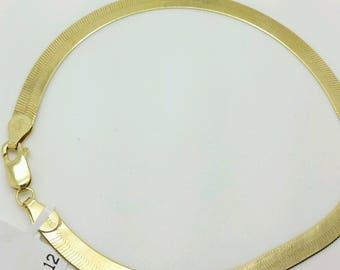 "14k Solid Yellow Gold High Polish Herringbone Bracelet 8"" 5.0mm Women"
