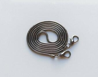 Bag Chain Strap for Handbag / Shoulder Bag Replacement Snake Chain 120 cm x 3 mm Gun Metal
