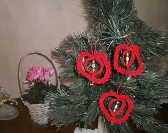 Ornaments decorations Christmas tree red cotton