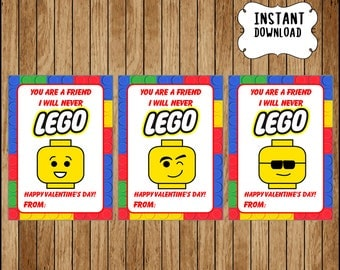 Lego Valentineu0027s Day Cards Instant Download, You Are A Friend L Will Never Lego  Valentine