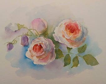 Roses. Original watercolor picture