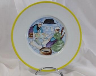 "Limoges porcelain plate hand painted ""dough"" by Mathurin Méheut"