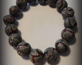Polymer clay, black pearl bracelet