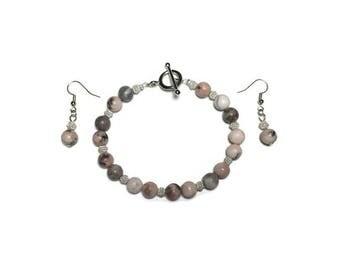 Pink zebra jasper, jasper bracelet, jasper earrings, jewelry set, under 20, pink and gray jasper, pink and gray stone, beaded bracelet