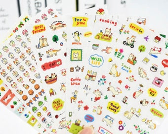 Set of 6 sheets stickers, planner stickers, kawaii stickers, cute stickers