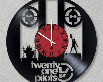 Vinyl Record Wall Clock Twenty One Pilots Rock Music Band 21 Pilots.Vinyl,Handmade.Home decor. Fans  Music. Original Clock, Gift, Art, Decor