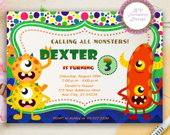 monster birthday invitation colorful invite little monster party invite any age printable - Monster Birthday Party Invitations