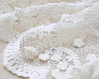 Off White Lace Trim lace fabric by the yard, vintage floral embroidered lace fabric trim