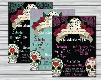 Dia de los muertos invitations, day of the dead invitations, dia de los muertos decor, halloween invitation, sugar skull, sugar skull decor