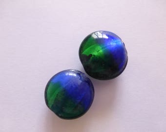 Glass bead silver foil, flat round, mixed color, approximately 20 mm in diameter