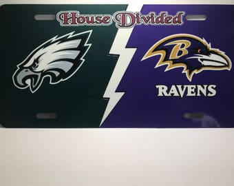 House Divided Eagles and Ravens License Plate NFL