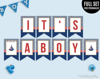 Nautical boy baby shower backdrop maritime party seal sailor baby shower banner template printable banner its a boy banner nautical maritime sailor pronofoot35fo Images