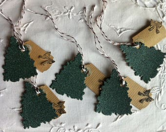 5 double cardboard gift - tags for Christmas tags