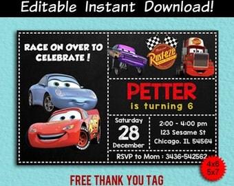 Disney Autos Editierbare Einladung, Disney Cars Editierbare  Geburtstagseinladung, Lädt Disney Autos PDF, Disney