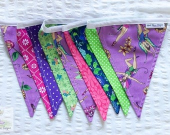Colourful bright blue, green, pink & purple girls fairy and floral fabric bunting / wall decor / pennant flags