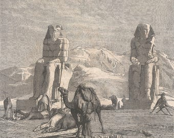 The Statues of Memnon, Egypt 1856 - Old Antique Vintage Engraving Art Print - Statues, Ancient, Pharoah, Amenhotep, Stone, Plinth, Camels