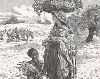 Watch Woman of Bethlehem, Palestine 1881 - Old Antique Vintage Engraving Art Print - Woman, Boy, Trees, Donkeys, Wicker, Basket, Jug, Crops