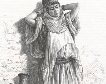 Algeria 1889, Nedjma, Old Antique Vintage Engraving Art Print, Woman, Earthen, Pitcher, Gown, Embroidery, Jewelry, Headdress, Earrings, Bang