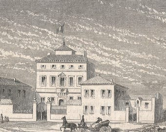 Tunisia 1862, New French Consulate in Tunis, Old Antique Vintage Engraving Art Print, Town, Man, Woman, Talking, House, Roof, Tile, Door