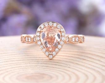 Morganite engagement ring rose gold pear shaped wedding Antique vintage art deco diamond Bridal  Half eternity women Christmas gift for her