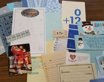 Blue Christmas Mini Paper Pack / 20+ Pieces / Vintage & New / Collage pack/Paper ephemera lot/ junk journal pack / pen pal lot
