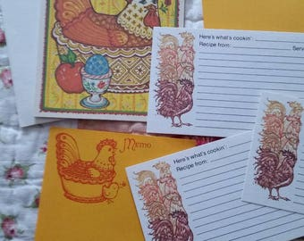Vintage Recipe Cards Collection ~ 70s Current Chicken Theme 8 Piece Set ~ Cooking Journals ~ Recipe Box