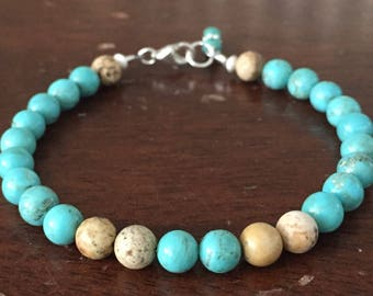 Turquoise and Picture Jasper Bracelet
