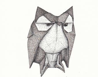 Origami Owl (pen and ink drawing)