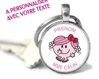 """Porte-clés personnalisé - Modèle """"Madame Câlin"""" (porte-clefs à personnaliser avec votre texte)"""