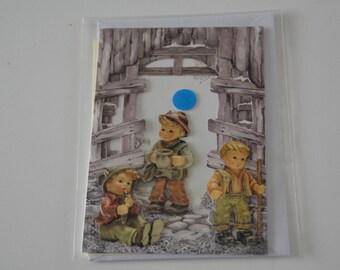 Christmas House, 3 little boys card