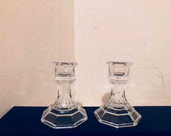 2 Glass candle holders!