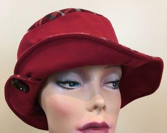 Red plaid hat