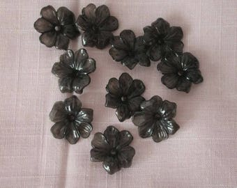 10 pearls flower, anthracite, acrylic, 30 mm diameter