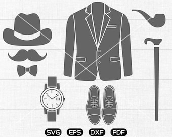 Gentleman SVG, hat, mustache, watch, suit, tobacco pipe, crutch, leather shoes svg Clipart, cricut, silhouette cut files commercial use