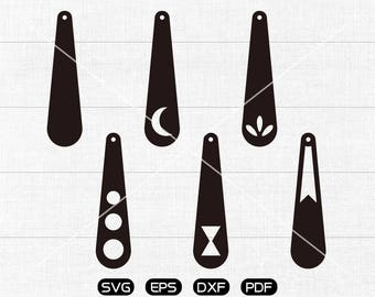 Tear drop with hole SVG, Teardrop Moon earrings svg, leather jewelry making Clipart, cricut, silhouette cut files commercial use