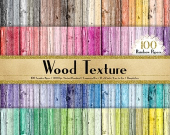 """100 Wood Texture Background Papers in 12"""" x 12"""", 300 Dpi Planner Paper, Commercial Use, Scrapbook Paper,Rainbow Paper, 100 Wood Papers"""
