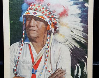 Indian Chief, Cherokee Indian Reservation T-10 Linen Postcard 1930's-1940's