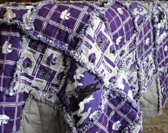 College Rag Quilt / Throw / Blanket / Handmade / Custom Order / FREE SHIPPING!