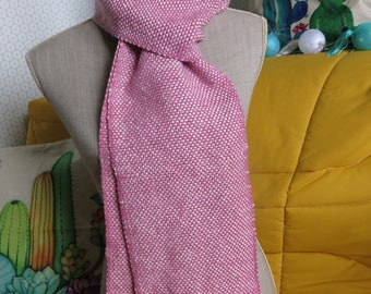 Large old hand woven scarf pink