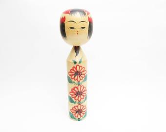 Vintage Kokeshi Doll.Nanbu Traditional.Kinzo Takahashi.Japanese Folk Art.Wooden Craft.Local toys.247mm.#169