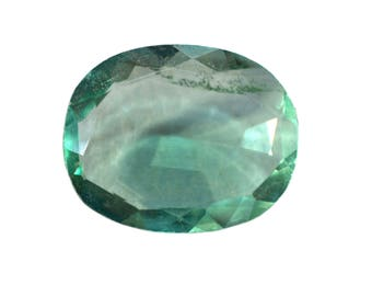 Fluorite Natural Green Fluorite Rose Cut Polki Both Side Faceted 6.90 cts 12x15 mm For Designer Jewelry 3908